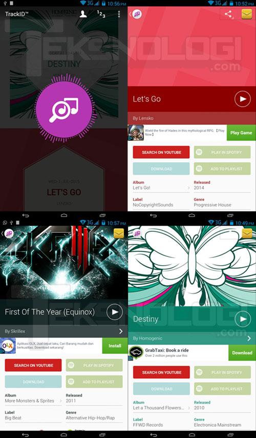 Tampilan aplikasi TrackID Android ketika mengidentifikasi 4 buah musik
