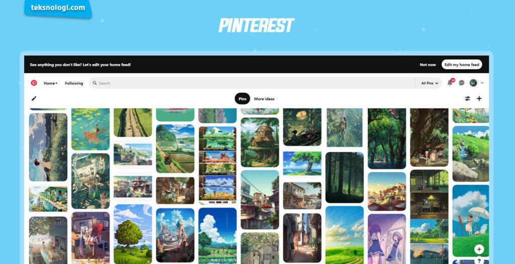 mencari inspirasi desain dan menggambar di pinterest