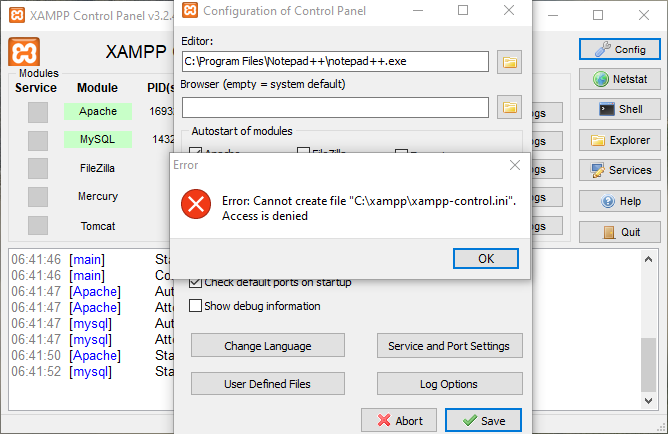 Error: Cannot create file C:\xampp\xampp-control.ini. Access is denied