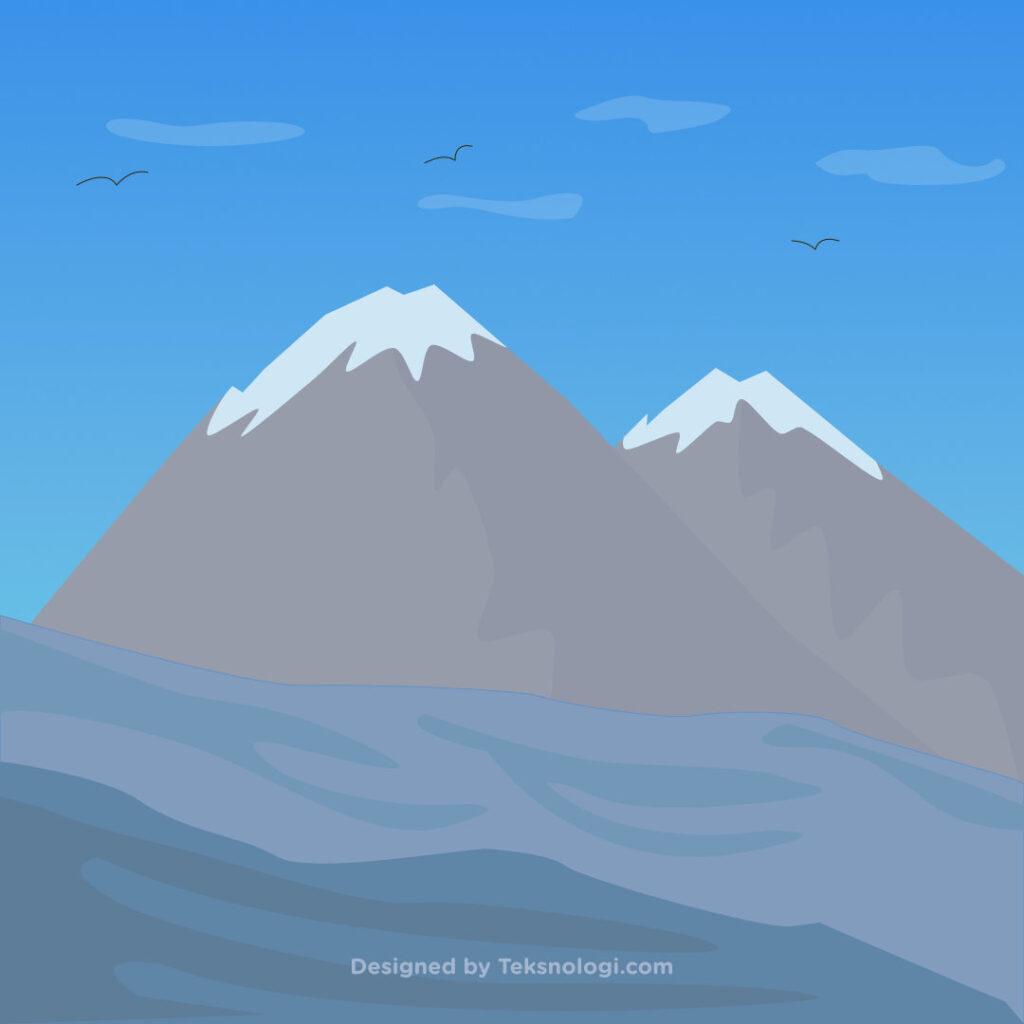 ilustrasi gambar gunung