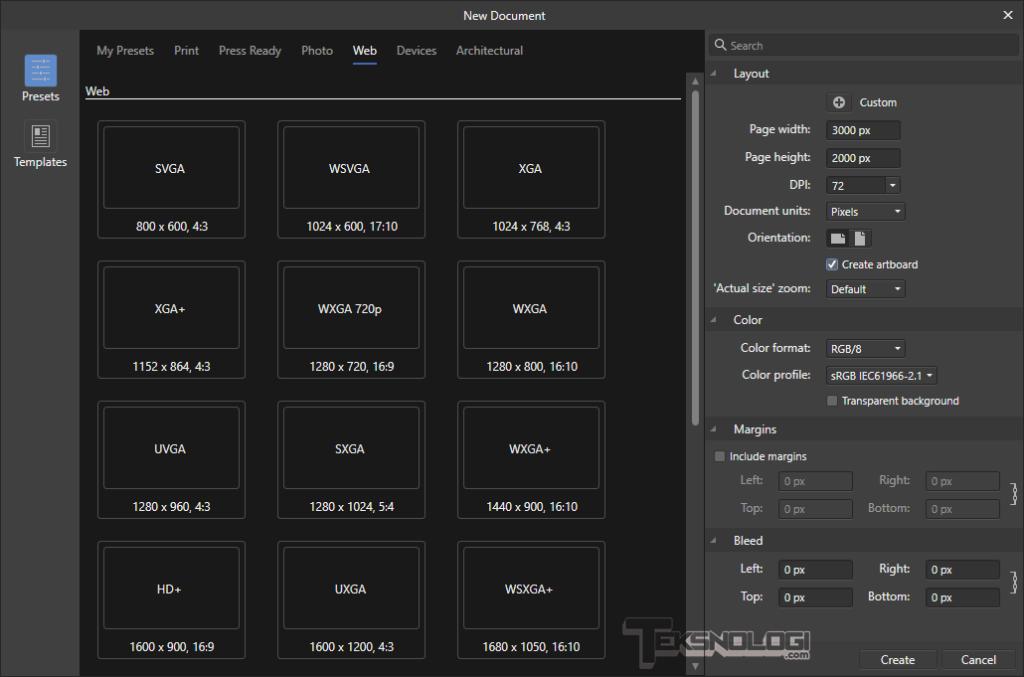 cara buat dokumen baru di affinity designer
