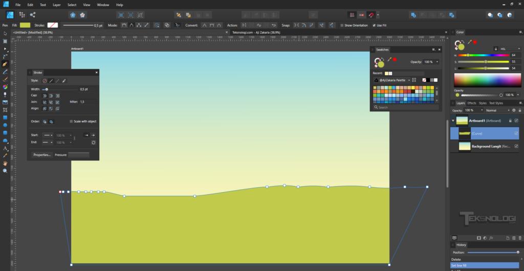 cara-membuat-shape-tanah-dan-rumput-dengan-pen-tool-affinity-designer
