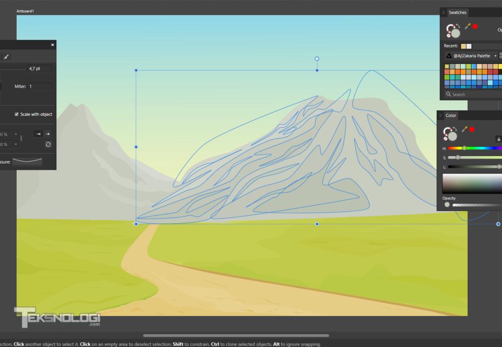 cara-membuat-tekstur-gunung-vector-pen-tool-affinity-designer