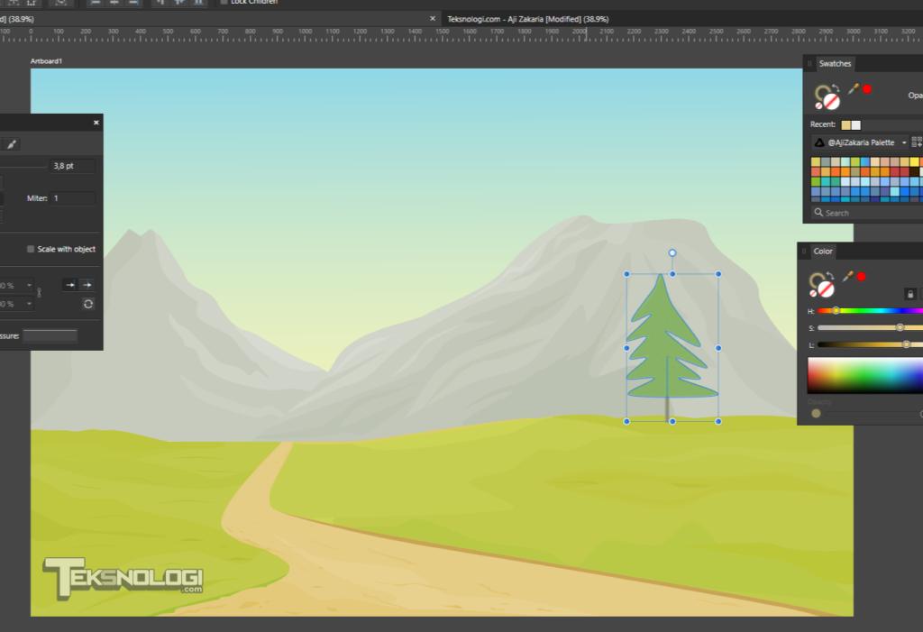 cara membuat vector pohon affinity designer