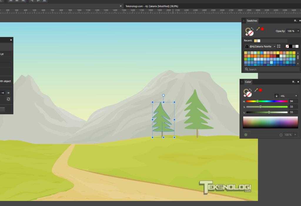 cara-membuat-vector-pohon-pegunungan-affinity-designer